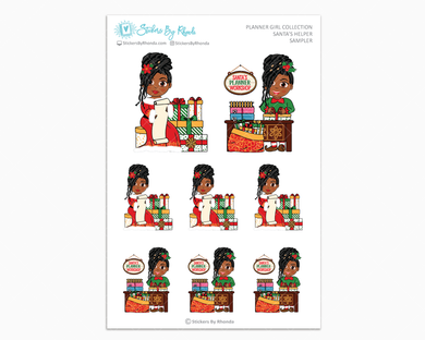 Jackie With Locs - Santa's Helper Sampler - Christmas Stickers - Holiday Stickers