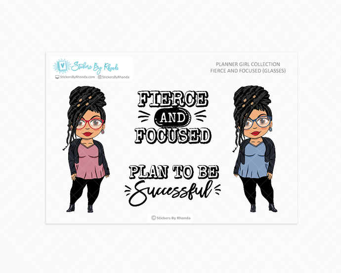 Jennifer With Locs & Glasses - Fierce And Focused - Limited Edition - Planner Girl Collection