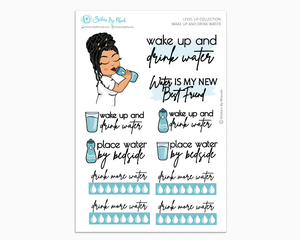 Jennifer With Locs - Wake Up and Drink Water - Planner Girl - Level Up Habit Planner Stickers