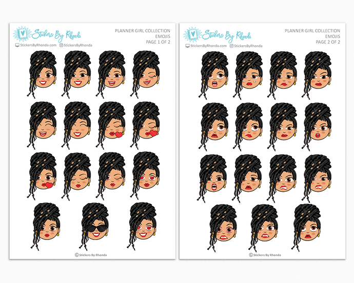 Jennifer With Locs - Planner Girl Emojis - Emotion Stickers - Planner Girl Collection