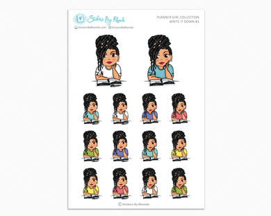 Jennifer With Locs - Write It Down #1 - Planner Girl Collection - Planner Stickers