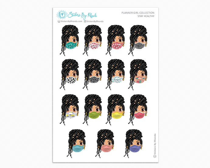 Jennifer with Locs -  Stay Healthy - Planner Girl Stickers