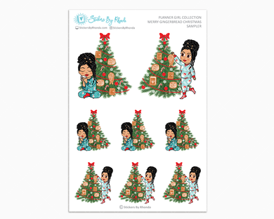 Jennifer With Locs - Merry Gingerbread Christmas Sampler - Christmas Stickers - Holiday Stickers