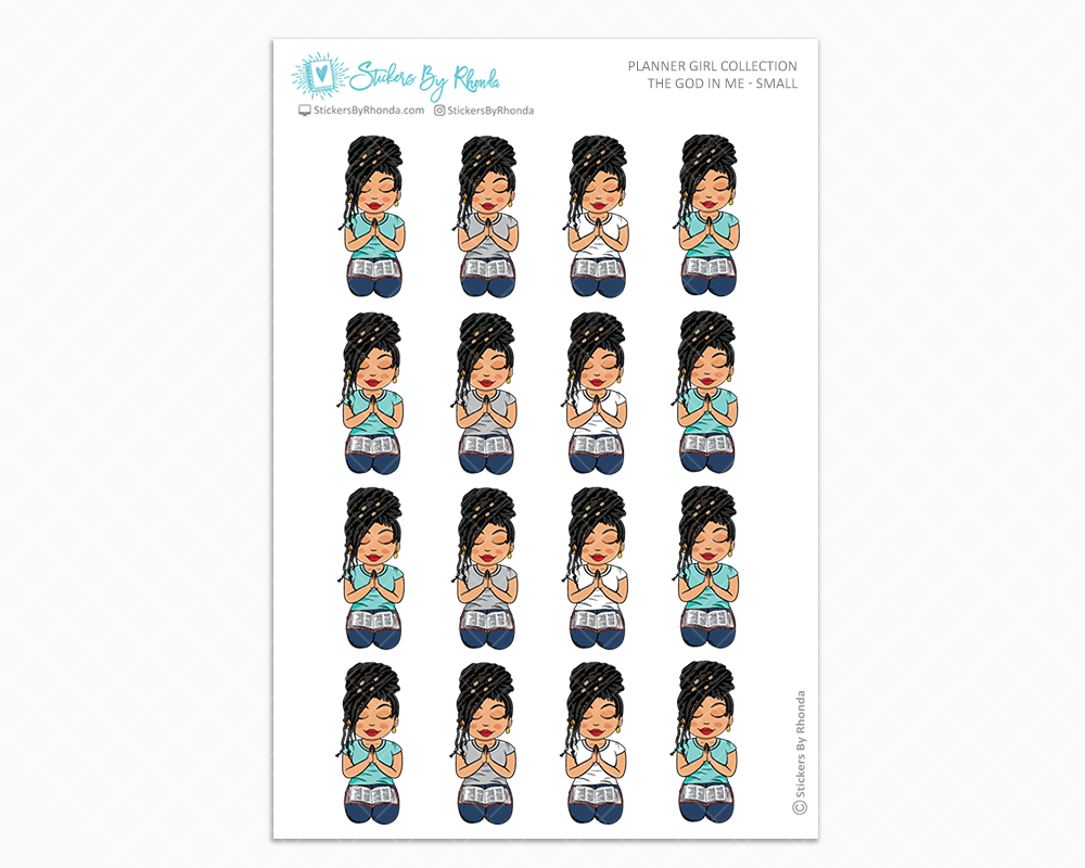 Jennifer with Locs - The God In Me - Planner Girl Stickers