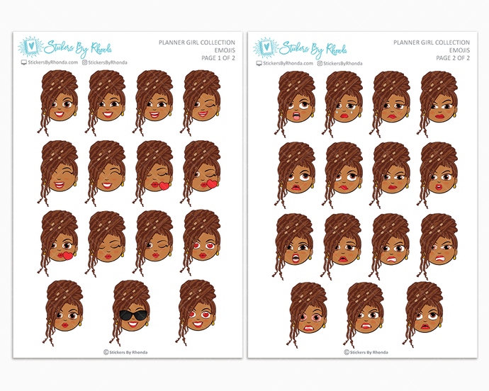 Mia With Locs - Planner Girl Emojis - Emotion Stickers - Planner Girl Collection