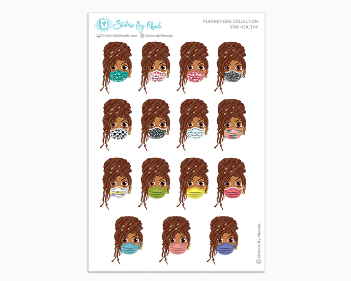 Mia with Locs -  Stay Healthy - Planner Girl Stickers