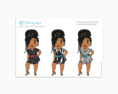 Tanya With Locs - Class & Confidence - Limited Edition - Planner Girl Collection - Planner Stickers