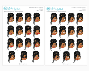 Tanya With Locs - Planner Girl Emojis - Emotion Stickers - Planner Girl Collection