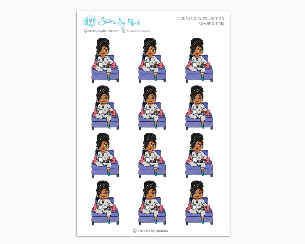 Tanya With Locs - Reading Time - Planner Girl Collection - Planner Stickers