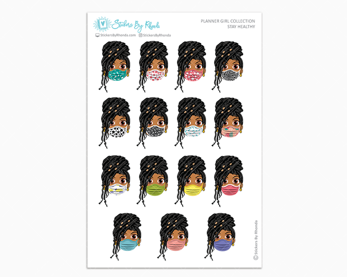 Tanya with Locs -  Stay Healthy - Planner Girl Stickers