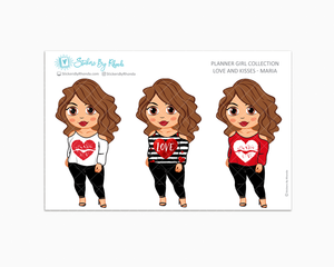 Maria - Love and Kisses - Limited Edition - Planner Girl Collection - Valentine's Day Stickers