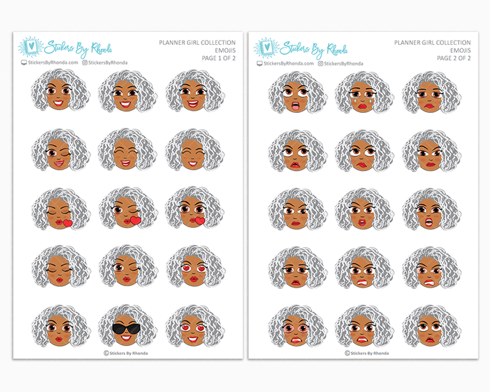 Sylvia - Planner Girl Emojis - Emotion Stickers - Mature Planner Girl Collection
