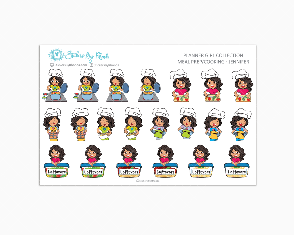 Meal Prep/Cooking Planner Stickers - Jennifer