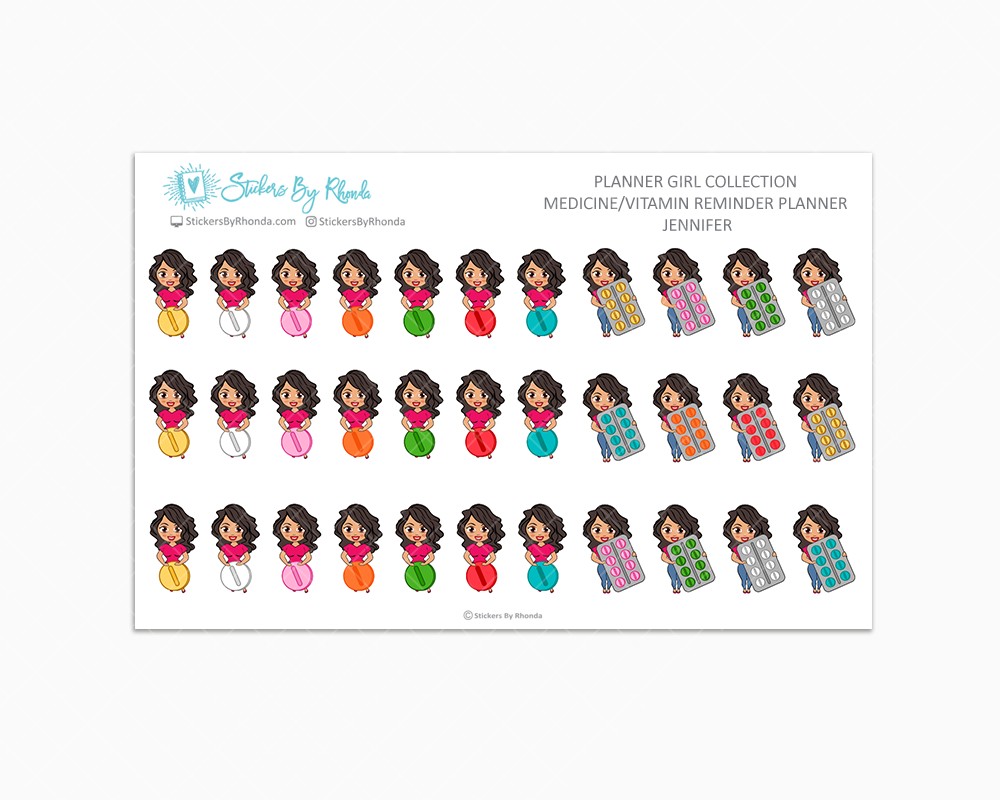 Medicine/Vitamin Reminder Planner Stickers #1 - Jennifer