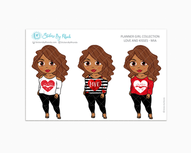 Mia - Love and Kisses - Limited Edition - Planner Girl Collection - Valentine's Day Stickers