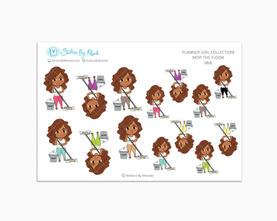 Mia - Mop The Floor - Cleaning Stickers - Planner Stickers
