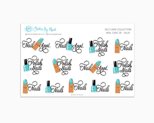 Nail Planner Stickers - Faux Glitter Polish Sticker - Self Care - 2B