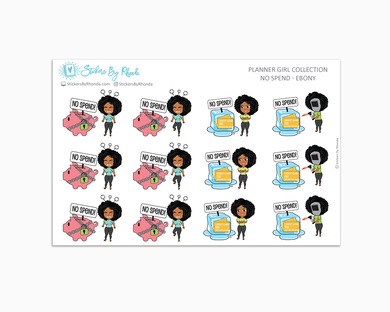 No Spend Planner Stickers - Ebony