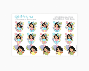 Celebrate Good Times - Olivia - Birthday Planner Stickers - Celebration Planner Stickers - Party Planner stickers
