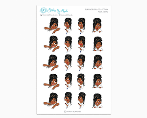 Jackie With Locs - Peek-A-Boo Planner Girl Stickers