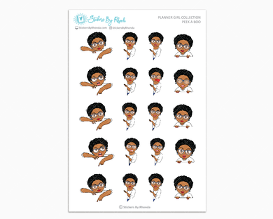 Ebony Sassy Cut With Glasses - Peek-A-Boo Planner Girl Stickers