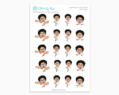 Jennifer Sassy Cut With Glasses - Peek-A-Boo Planner Girl Stickers