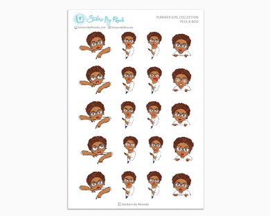 Mia Sassy Cut With Glasses - Peek-A-Boo Planner Girl Stickers