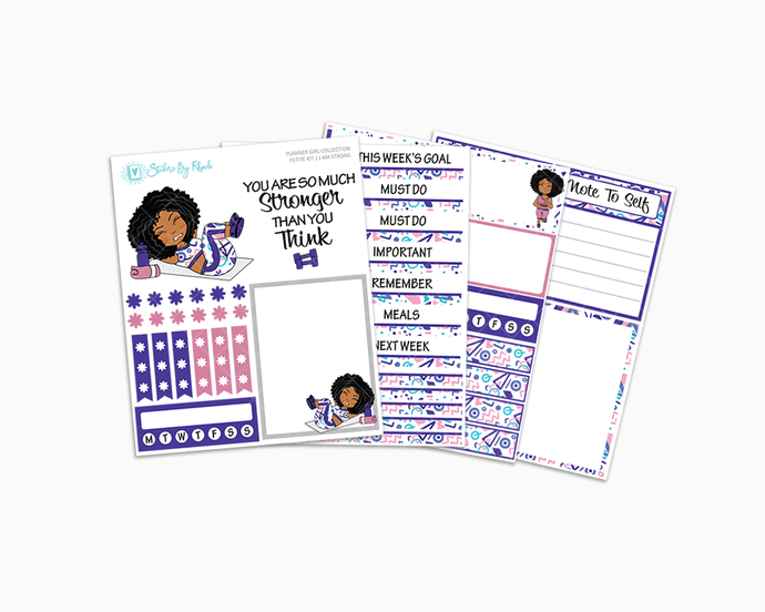 Ebony - I Am Strong Petite Kit - Planner Girl Collection - Fitness Stickers