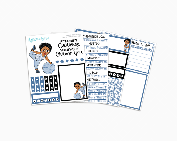 Ebony With Sassy Cut - Putting In The Work Petite Kit - Planner Girl Collection