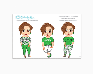 Amanda With Pixie Cut - Green Is My Color - Limited Edition - Planner Stickers