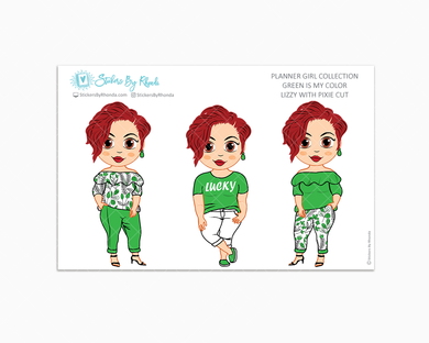 Lizzy With Pixie Cut - Green Is My Color - Limited Edition - Planner Stickers