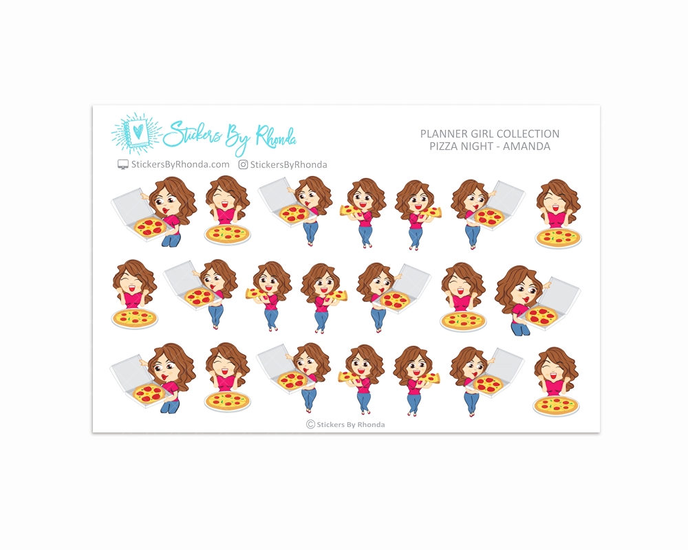Pizza Night Planner Stickers - Amanda