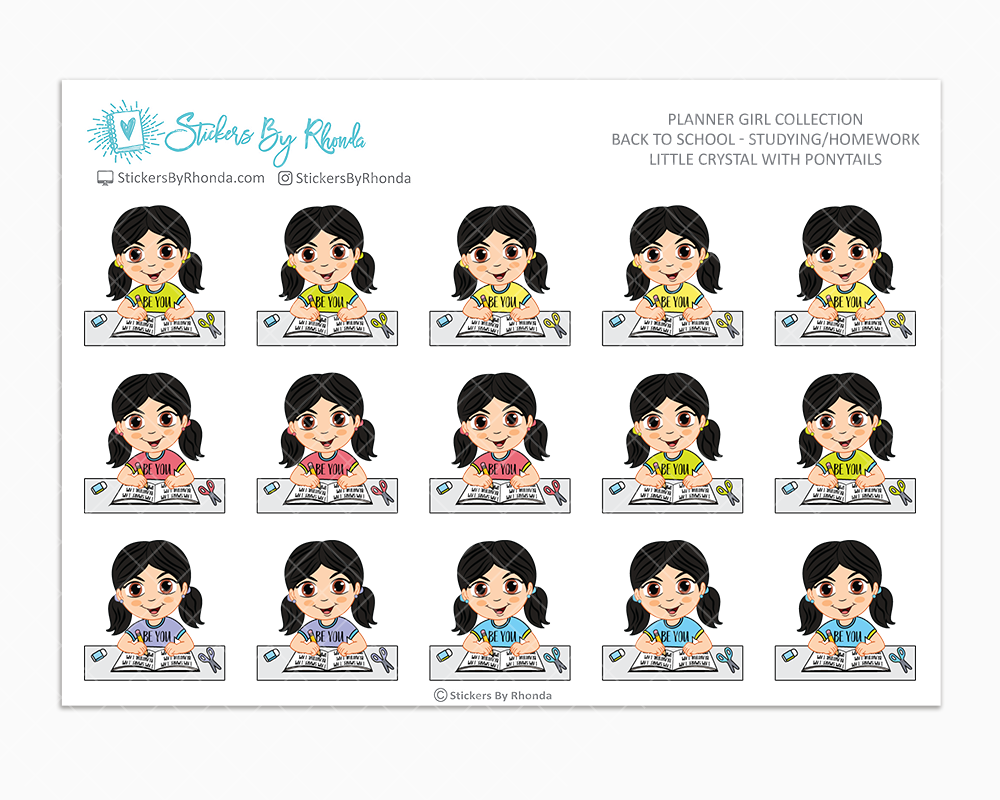 Little Crystal With Ponytails - Homework Study  - Back To School Stickers - Girl Stickers