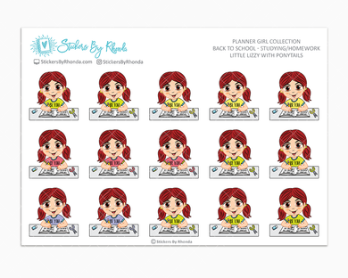 Little Lizzy With Ponytails - Homework Study  - Back To School Stickers - Girl Stickers