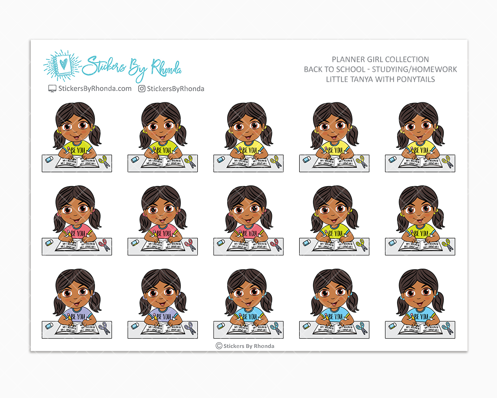 Little Tanya With Ponytails - Homework Study  - Back To School Stickers - Girl Stickers