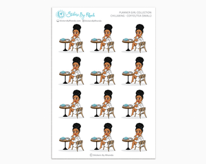 Ebony With Curly Puff - Chillaxing - Coffee/Tea (Small) - Planner Girl Collection