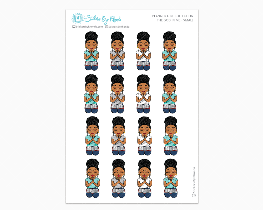 Ebony with Curly Puff - The God In Me - Planner Girl Stickers