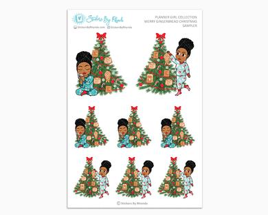 Ebony With Curly Puff - Merry Gingerbread Christmas Sampler - Christmas Stickers - Holiday Stickers