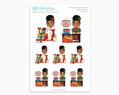 Ebony With Curly Puff - Santa's Helper Sampler - Christmas Stickers - Holiday Stickers