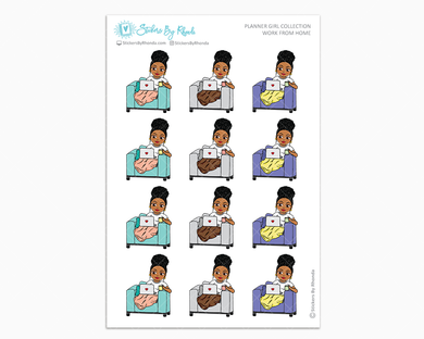 Ebony With Curly Puff - Work From Home - Planner Girl Collection