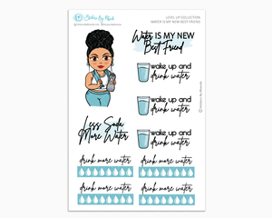Jennifer With Curly Puff - Water Is My Best Friend - Planner Girl - Level Up Habit Planner Stickers
