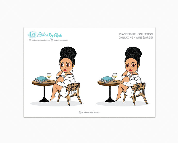 Jennifer With Curly Puff - Chillaxing - Wine (Large) - Limited Edition - Planner Girl Collection