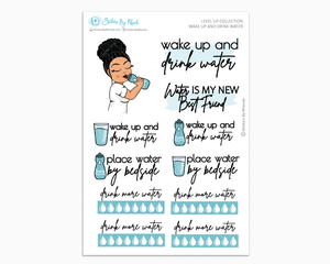 Jennifer With Curly Puff - Wake Up and Drink Water - Planner Girl - Level Up Habit Planner Stickers