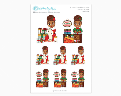 Mia With Curly Puff - Santa's Helper Sampler - Christmas Stickers - Holiday Stickers