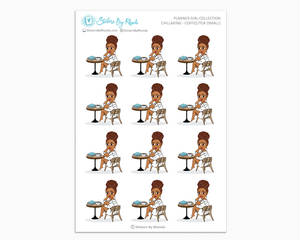 Mia With Curly Puff - Chillaxing - Coffee/Tea (Small) - Planner Girl Collection