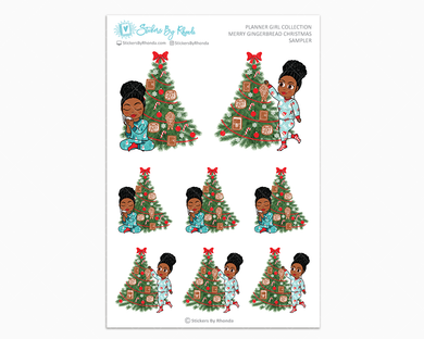 Tina With Curly Puff - Merry Gingerbread Christmas Sampler - Christmas Stickers - Holiday Stickers