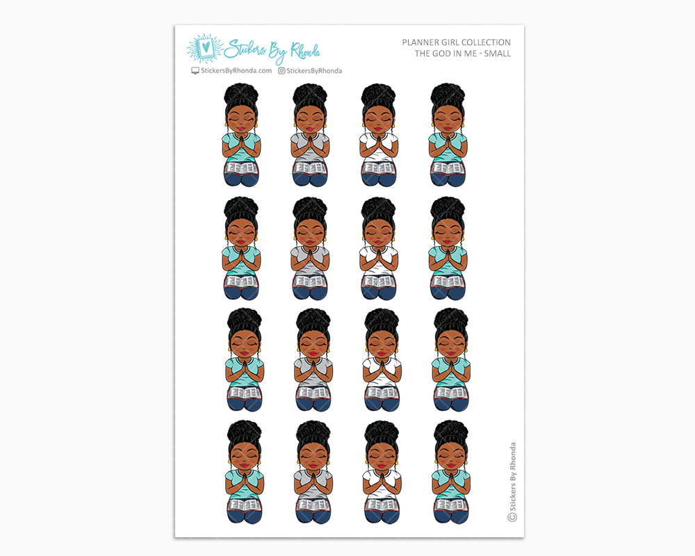 Tina with Curly Puff - The God In Me - Planner Girl Stickers