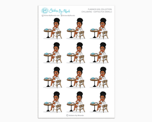 Tina With Curly Puff - Chillaxing - Coffee/Tea (Small) - Planner Girl Collection
