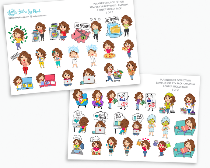 Planner Stickers - Planner Girl Collection - Sampler Pack - Amanda
