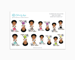 Ebony With Sassy Cut - Mop The Floor - Cleaning Stickers - Planner Stickers